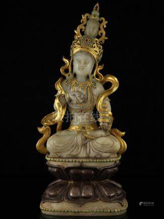 A GILDED GEM INLAID JADE FIGURE OF MAITREYA