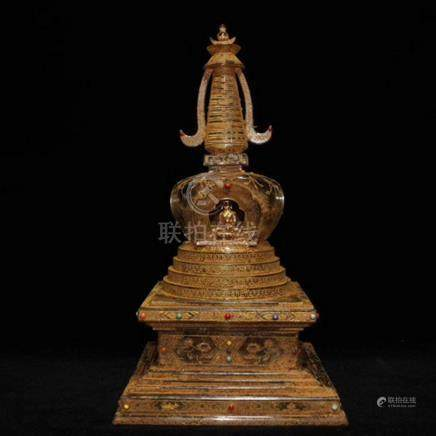 A GILDED GEM INLAID CRYSTAL STUPA WITH BUDDHA'S RELICS