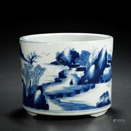 A BLUE-AND-WHITE LANDSCAPE PATTERN BRUSH POT