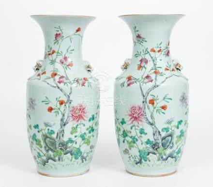 Pair 19th Century Chinese famille rose Chrysanthemum Vases