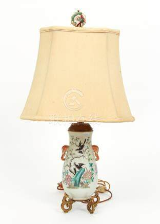 Chinese Famille Rose Vase Mounted as Lamp