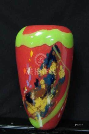 AColorful morano glass vase with wide mouth; 1