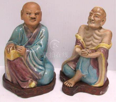 A 2 piece Qing dynasty 19th to 20th century statue