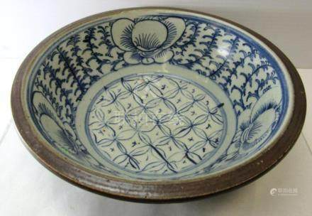 White,blue and brown bowl