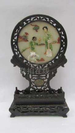 Antique Chinese Hardwood Table Screen with Jade