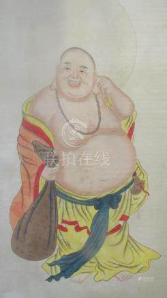 Very Old Chinese Silk Buddha Scroll Painting