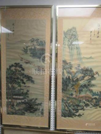 Pair of Watercolor on Silk Paintings