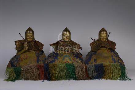 THREE CHINESE GILT BRONZE SEATED BUDDHA