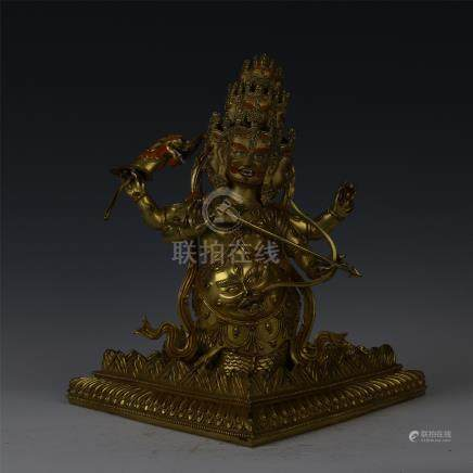 SINO TIBETAN GILT BRONZE THREE FACE GUARDIAN