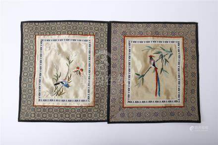 PAIR OF CHINESE EMBROIDERY TEXTILE