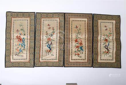 FOUR CHINESE EMBROIDERY TEXTILE