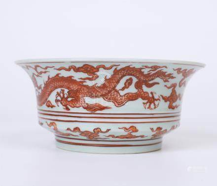 CHINESE PORCELAIN COPPER RED DRAGON BOWL