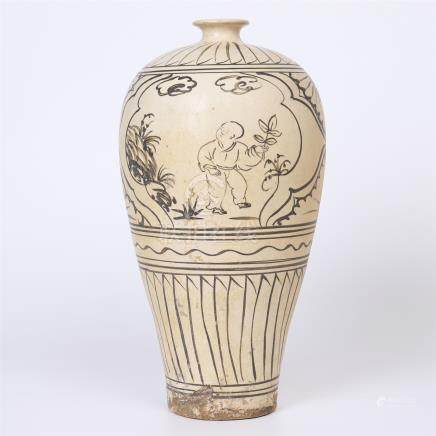 CHINESE PORCELAIN CIZHOU BOY PLAING MEIPING VASE