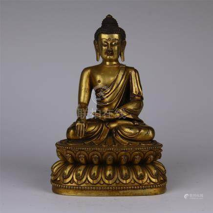 CHINESE GILT BRONZE SEATED SAKAYMUNI