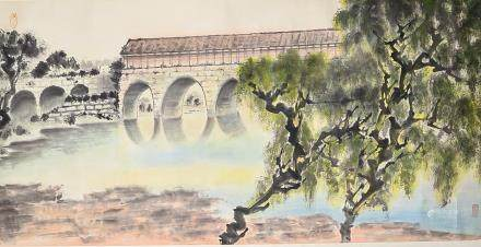 Chinese Watercolor Paintings Scroll Bridge