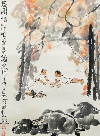 LI KERAN Watercolor Ink Hanging Scroll Buffalo