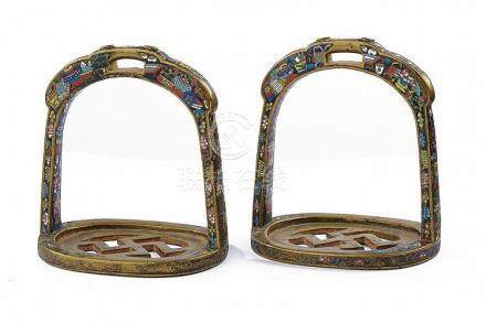 A rare pair of enameled stirrups