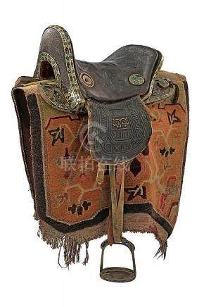 A nice and rare saddle with enameled mounts