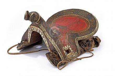 A beautiful painted and bone mounted saddle