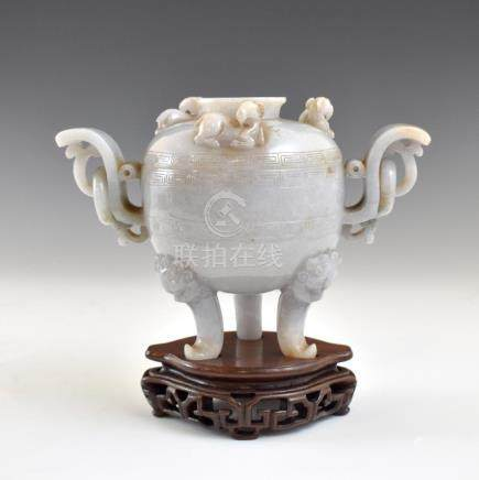 CHINESE JADEITE TRIPOD CENSERS ON STAND