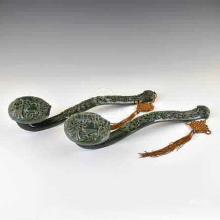 PAIR OF GREEN JADE RUYI SCEPTERS
