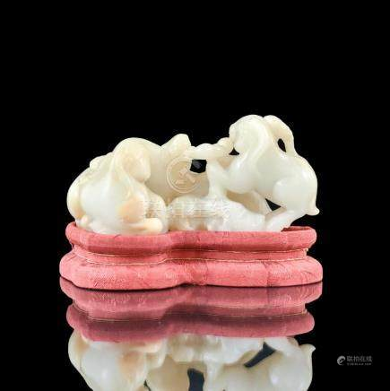 CHINESE JADE CARVED THREE SHEEP ON STAND