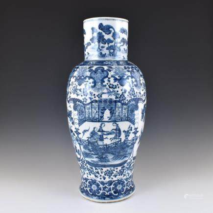 MING BLUE AND WHITE PHOENIX TAIL VASE