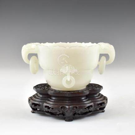 WHITE JADE MARRIAGE CENSER ON STAND