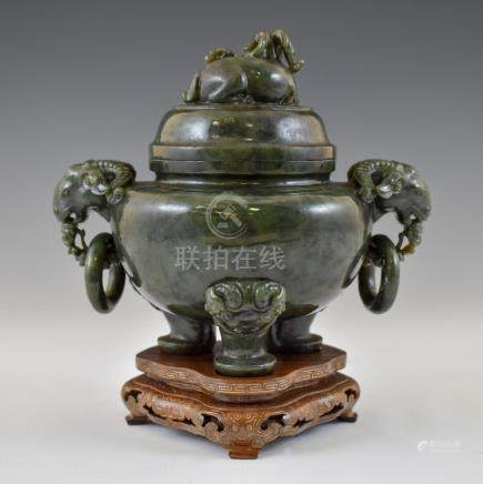 CHINESE GREEN JADE TRIPOD CENSERS ON STAND