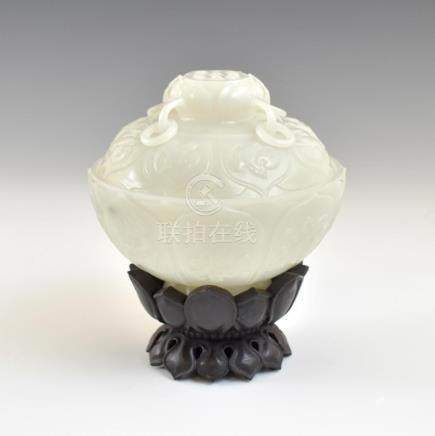 WHITE JADE MARRIAGE LIDDED BOWL ON STAND