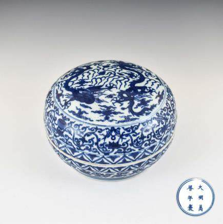 WANLI BLUE AND WHITE DRAGON ROUND BOX