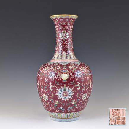 JIAQING WRAPPED FLORAL RUBY RED REWARD VASE