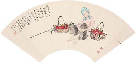 李靈伽、容漱石  人物扇面(劉秉衡題)
