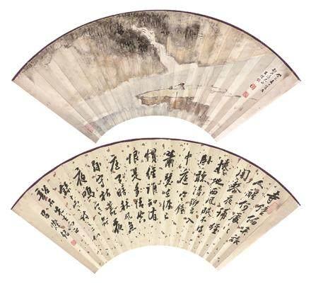 呂燦銘  書畫扇面(張韶石上款)