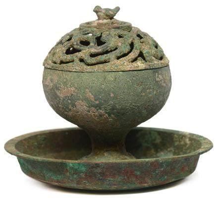 西漢 青銅鏤空龍紋薰爐