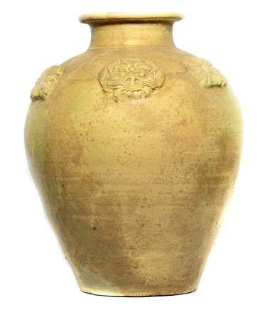 北齊 黃釉貼花大罐