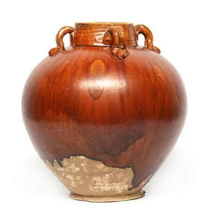 唐 褐釉四系罐