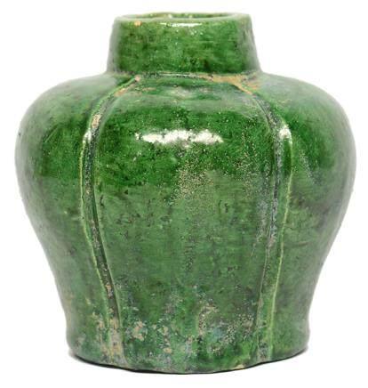 明 綠釉瓜棱罐