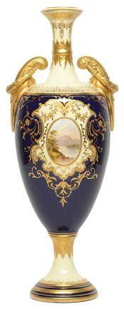 英國 COALPORT 骨瓷彩釉描金風景雙耳瓶