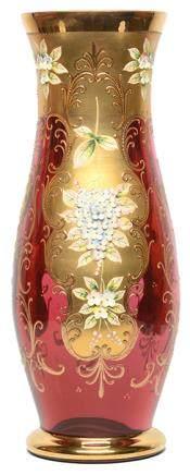 意大利 MURANO 紅玻璃描金加彩花卉瓶