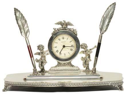 西班牙 銀天使座鐘/筆座、銀羽毛原子筆一套三件 (銀重1102克)