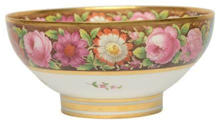 英國 SPODE 骨瓷彩釉花卉碗
