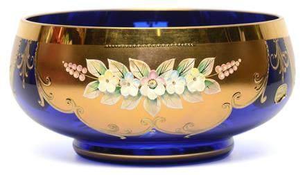 意大利 MURANO 藍玻璃描金加彩花卉盆