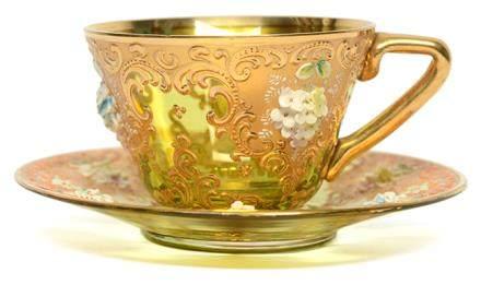 意大利 MURANO 黃玻璃描金加彩花卉杯碟一套