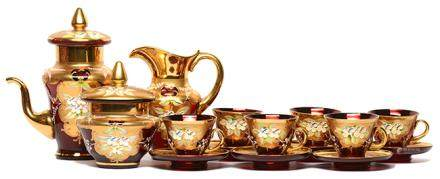 意大利 MURANO 紅玻璃描金加彩花卉茶具一套十五件