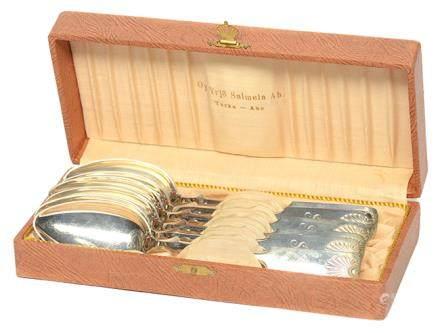 芬蘭 銀匙一套六件 (附原裝盒)