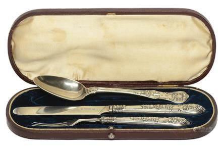1905年 英國 AARON HADFIELD 銀餐具一套三件 (附原裝盒)
