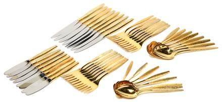 1962年 美國 KTRK 銀鍍金餐具一套四十八件(八人用)(銀重2220克)