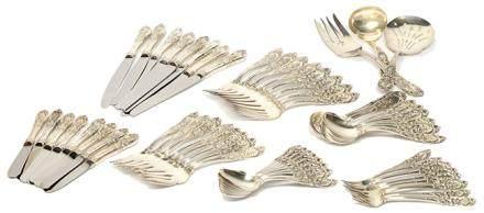 1935年 美國 銀花卉餐具一套五十九件 (八人用)(銀重2860克)