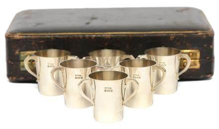 1930年 英國 P&J ESCOFET 銀三耳杯一套六件 (附原裝盒)